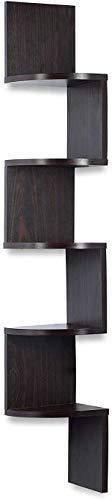 Corner Shelf Espresso - 5 Tier Corner Shelf Unit - Ideal for Corner Bookshelf or Any Decor - Corner Wall Shelf - Original by Sagler
