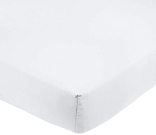 Amazon Basics Spannbetttuch, Mikrofaser, strahlend weiß, 180x200x30cm