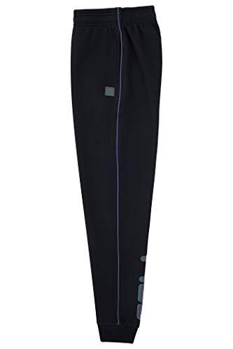 Fila Boys Heritage Fleece Jogger Logo Sweatpant Kids Clothes (Black-Reflective, Medium)