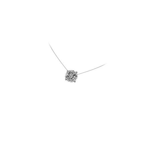 Tata Gisèle - Collar con hilo de nailon y colgante de plata 925/000 rodiada, con circonita redonda tipo solitario de 7 mm, incluye bolsita de regalo de terciopelo con los colores de la marca