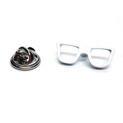 Insignia de pin de solapa de gafas blancas geek