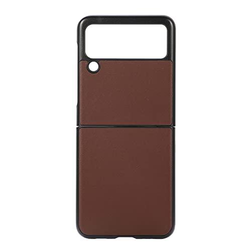 Coque 6plus,6splus Funda Samsung Galaxy Z Flip 3/Patrón de Cuero Genuino/Oveja/Protección Completa 360˚,Estuche para teléfono móvil para Samsung Galaxy Z Flip 3 Plegable-marrón