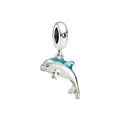 Abalorio de plata de ley 925 con diseño de oso de delfín y reno de animales y mascotas, ideal para pulseras y collares, circón,