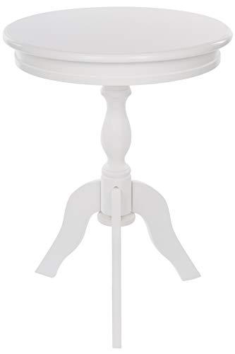 elbmöbel - Tavolino rotondo, piccolo, in legno, vintage, shabby chic, 65 x 50 cm, colore: bianco
