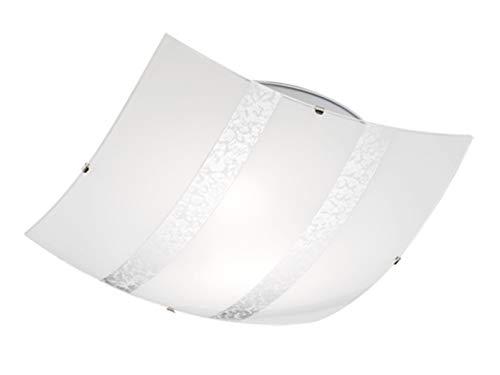 Exclusieve plafondlamp hoekig 40x40cm met gesatineerde lampenkap van glas in wit met zilverkleurige decoratieve strepen
