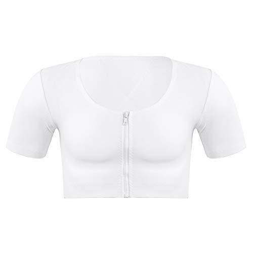 inhzoy Herren Shapewear Kompressionshemd Gynäkomastie Unterhemd Kompressionsweste Brustkorsett Brust Verstecken Weiß Large