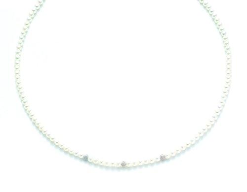 Collana Miluna in oro bianco 18kt con Perle e sfere diamantate PCL1701B