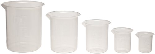 Kartell 326495-2000 Polypropylene Low Form Graduated Beaker/Lab Pitcher with Handle, 2000mL Capacity (Pack of 2)