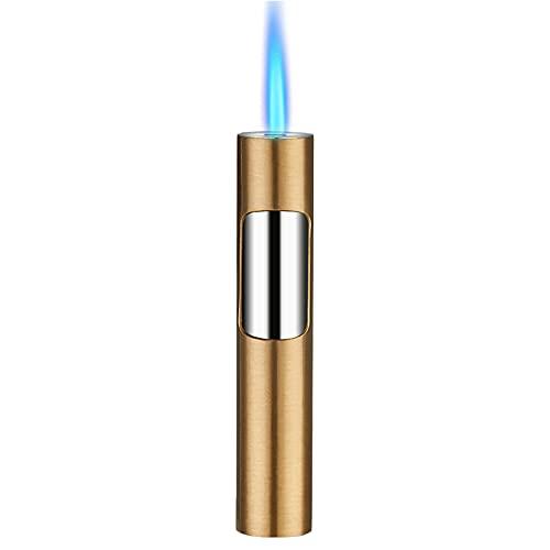 GvvcH Encendedor de Gas Mechero Jet a Tormenta Encendedor de Puros Recargable Portátil Llama Ajustable por Cocina Parilla Horneando (Sin Butano),Gold