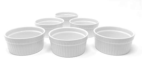 White Porcelain 6-Piece Ramekin Set, 6oz. Dishwasher, Microwave and Oven Safe!