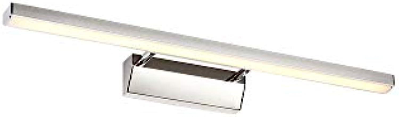 J.SUNUN Spiegellampen, LED-Spiegelwandleuchte mit Badleuchte mit Kombination aus Acryl und Edelstahl-Badspiegelleuchte ohne Schalter 220V (Farbe   A Warm Light, Gre   50cm 8W)