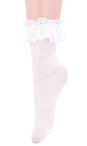 SEMOHOLLI Women Ankle Socks,Women Lace Ruffle Frilly Comfortable Socks Princess Socks Lace Socks (1 Pairs-white)