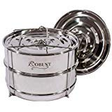 Robust Stackable Stainless Steel Food Steamer Insert Pans Accessories for All Instant Pot 6 qt 8 qt models, Pressure Cookers. Includes 2 interchangeable lids for steaming and one with handle.