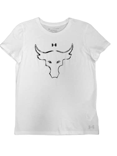 Under Armour Womens Project Rock Brahma Bull Tee Shirt White (X-Small, x_s)
