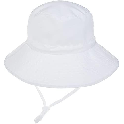 Unisexo Bebé Sombrero de Sol Blanco Gorro de Pescador Infantil Verano Exteriores Protección Solar ala Ancha Gorro de Playa para 6-24 Meses Niña Niño