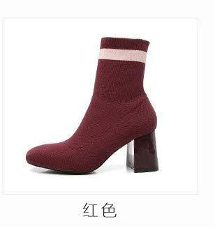 Shukun enkellaarsjes herfst en winter stretchdoek sokken laarzen rood vierkant korte laarzen hoge hak damesschoenen