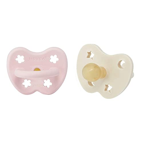 HEVEA 2-pack Coloured Natural Rubber Pacifier with Natural Colour Pigments, Plant Based, Plastic-Free, Non-Toxic, Eco-Friendly, BPA-Free & FDA Approved for Food Contact (Powder Pink/Milky White)