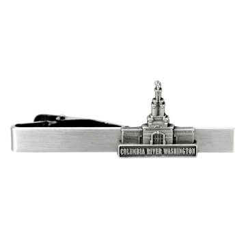 LDS Mens Columbia River Washington Temple Silver Steel Tie Tac / Tie Pin for Boys
