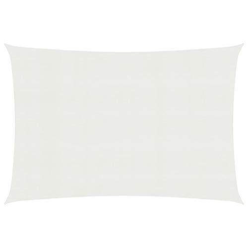 Kshzmoto Weißes HDPE-Sonnensegel, praktisches Sonnensegel im modernen Stil im Freien 4,5 x 3 m (Länge x Breite) Terrasse Garten Familienschattensegel