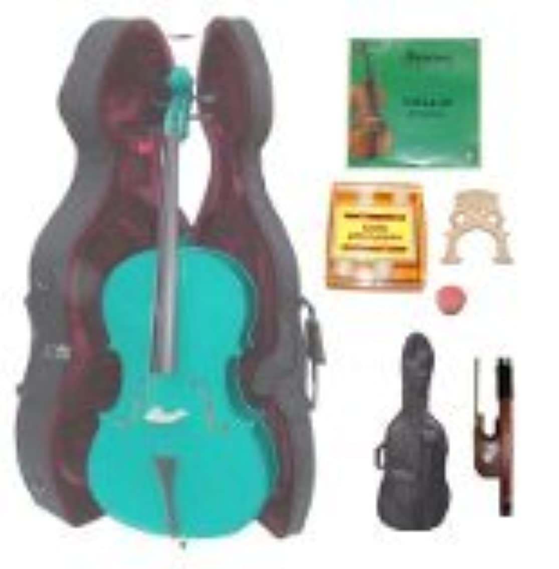 GRACE 4/4 Size Green Cello with Hard Case + Soft Carrying Bag+Bow+Rosin+Extra Set of Strings+Extra Bridge+Pitch Pipe
