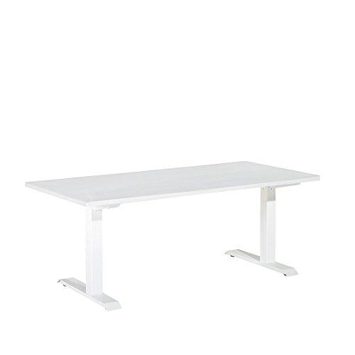 Beliani Table de Bureau Blanc 160 x 80 cm réglable en Hauteur Uplift