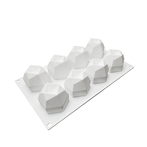 ZHANGHONGWEI 8 Cavidad DIY Molde de Vela 3D Ocho Cara Multilateral Cara de Diamante Cubo Molde de Silicona Aroma Cera Sapón Mousse Torta Molde para Hornear