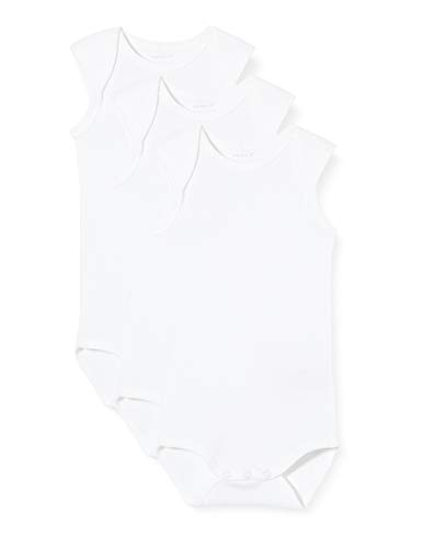 NAME IT Unisex Baby Nbnbody 3p Tank Solid Noos Strampler, Weiß (Weiß Bright White), 98 (3er Pack)