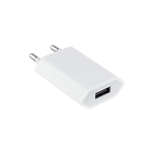 NANOCABLE 10.10.2001 - Mini Cargador USB (5V/1A) para Apple iPhone, iPad, iPod, Color Blanco