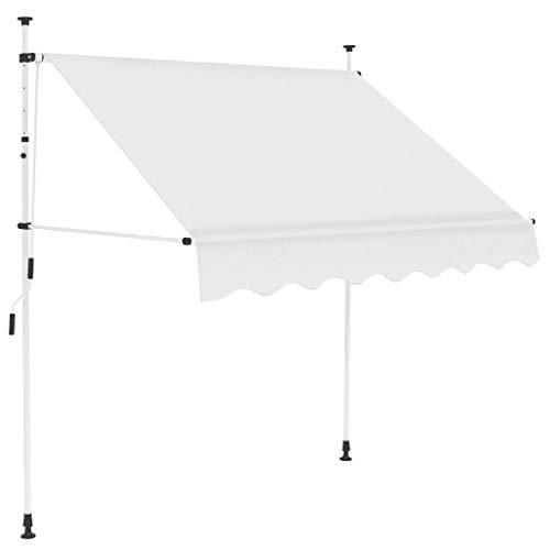 Gototop Toldo retráctil manual para ventanas terrazas jardín refugio solar 150 x 120 cm, color crema