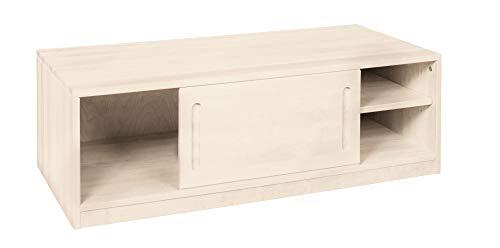BioKinder Lina Dressoir Ladekast met schuifdeur in massief hout grenen 120 x 55 x 40 cm wit gelakt, voorkant wit gelakt