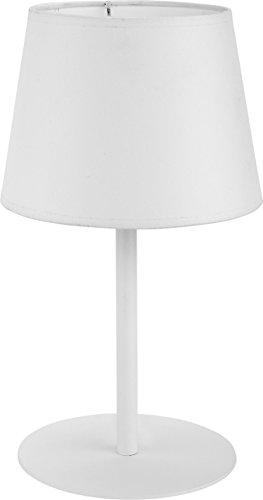 Tischleuchte Stoff Schirm Weiß Metall Gestell Bauhaus Design Schlicht Einfarbig H 36cm E27 Nachttischlampe Tischlampe