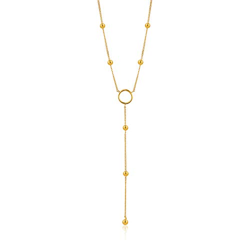 ANIA HAIE 925 Sterling Silver Long Statement Lariat Metal Ball Bead Drop Y Necklace for Women, Gold Plated