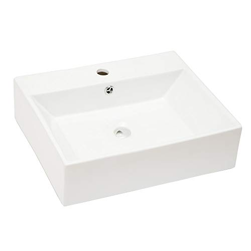 Vessel Sink Rectangle - Sarlai Wall Mounted Modern Bathroom Vessel Sink Rectangle Above White Porcelain Ceramic Vessel Vanity Sink Art Basin with Faucet Hole and Overflow
