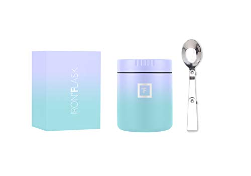 IRON °FLASK Food Jar  135 Oz Foldable Spoon Leak Proof Vacuum Insulated Thermos Stainless Steel Simple Storage Lunch Modern Container Hydro Metal Canteen Double Walled Portable Food Bowl