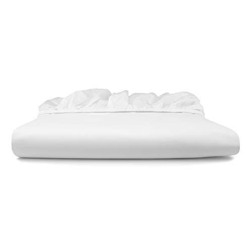 bo&button® Mako Satin Spannbettlaken, echte Luxusqualität, 90x200 cm, bis 30 cm Steghöhe, 100% feinste GOTS Bio Baumwolle, Weiß
