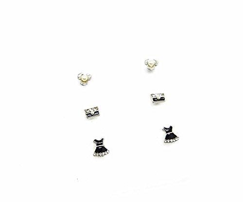 PBO07-Placa de 3 pares de pendientes, diseño de flores retro de metal,...