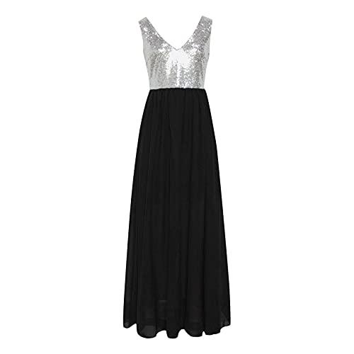 Zimuuy Mujer Vestido Formal sin Mangas Escote en Pico Elegante para Fiesta Boda Vestidos Largos de Moda(Negro,XXL)