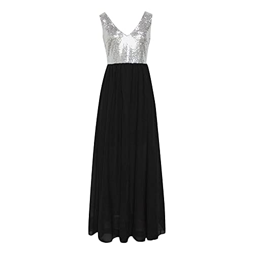 Alueeu Vestidos de Fiesta Largos de Noche Vestidos Mujer Collar en V Comunion Ropa de Mujer Falda Larga Imperio Plisado de Cóctel DressDama de Honor Elegante