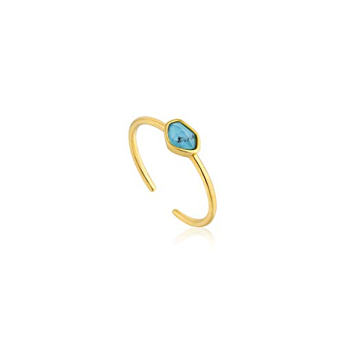 ANIA HAIE 925 Sterling Silver Thin Boho Gemstone Turquoise Adjustable Open Ring, 14k Gold Plated, One Size