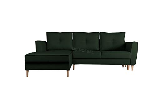 mb-moebel Ecksofa mit Schlaffunktion Eckcouch mit Zwei Bettkasten Sofa Couch Wohnlandschaft L-Form Polsterecke Theo (Malmo 37, Ecksofa Links)