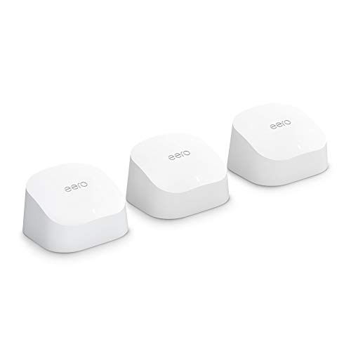 Introducing Amazon eero 6 dual-band mesh Wi-Fi 6 system with built-in Zigbee smart home hub (3-pack, 1 eero 6 router + 2 eero 6 extenders)