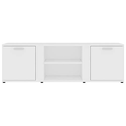 Bulufree Mueble de TV de aglomerado Blanco, Mueble de TV Familiar de Estilo Moderno, Mueble de TV para Sala de Estar 120 x 34 x 37 cm (Largo x Ancho x Alto)