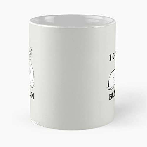 Taza de café de cerámica con diseño de conejitos I Hun Buns Best de 315 ml, con texto en inglés 'Come Food Bite John Best Taza de café de cerámica de 315 ml