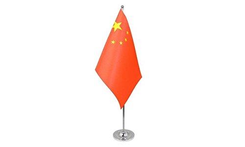 AZ FLAG Drapeau de Table Prestige Chine 22x15cm en Satin - Grand Drapeaux DE Bureau Chinois 15 x 22 cm