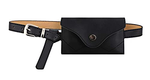 Rebecca Women Girls PU Leather Fanny Pack Casual Waist Bag Classic Cell Phone Pocket with Removable Belt (Black)