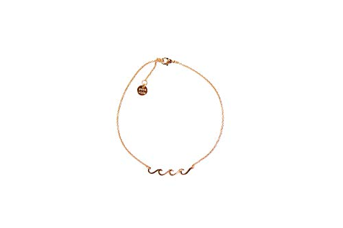 Pura Vida Rose Gold Plated Delicate Wave Anklet - Brand Charm, Adjustable Band - Cable Chain
