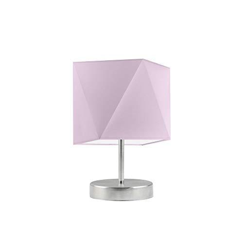 PASADENA - Lámpara de mesa (marco de acero cepillado), color morado claro
