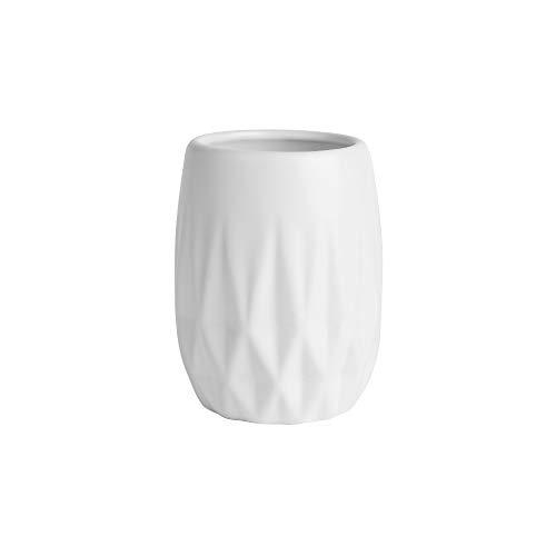 KASA Vaso de Cepillos de Dientes Decorativo, Diseño Geométrico en Relieve, Blanco