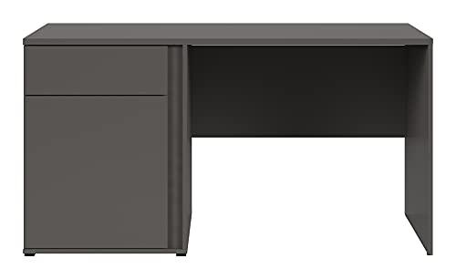 Tabla de escritorio para estudio de ordenador de mesa de ordenador de mesa de ordenador S343 con compartimento de almacenamiento, color gris Wolfram decoración, 66,5 x 76 x 143 cm