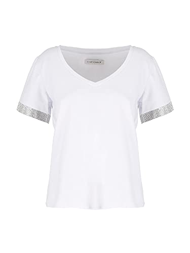 Cafenoir – Camiseta con pedrería W001 JT6490 blanco M